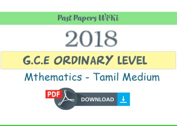 2018 O/L Mathematics with Answers - Tamil medium