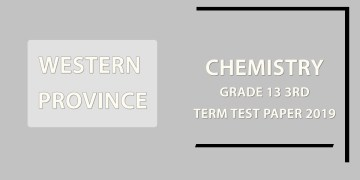 2019 Western Province Chemistry Grade 13 3rd Term Test Paper