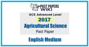 GCE A/L Agricultural Science Past Paper In English Medium