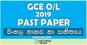 2019 O/L Sinhala language & Literature Past Paper | Sinhala Medium