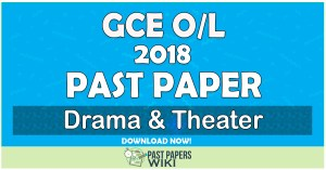 2018 O/L Drama & Theater Past Paper | Tamil Medium