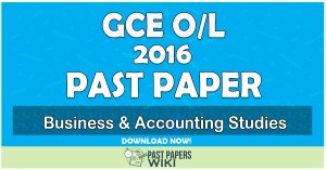 2016 O/L Business & Accounting Studies Past Paper | Tamil Medium