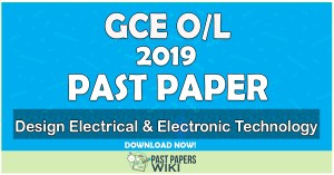 2019 O/L Design Electrical & Electronic Technology Past Paper | Tamil Medium