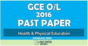 2016 O/L Health & Physical Education Past Paper   Tamil Medium