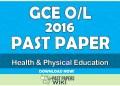 2016 O/L Health & Physical Education Past Paper | Tamil Medium