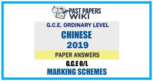 2019 O/L Chinese Marking Scheme | Tamil Medium