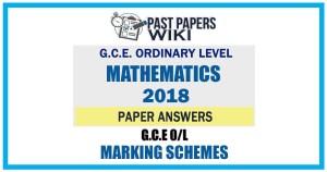2018 O/L Mathematics Marking Scheme   English Medium