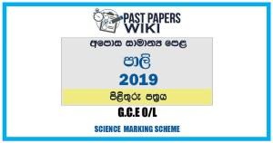 2019 O/L Pali Marking Scheme | Sinhala Medium
