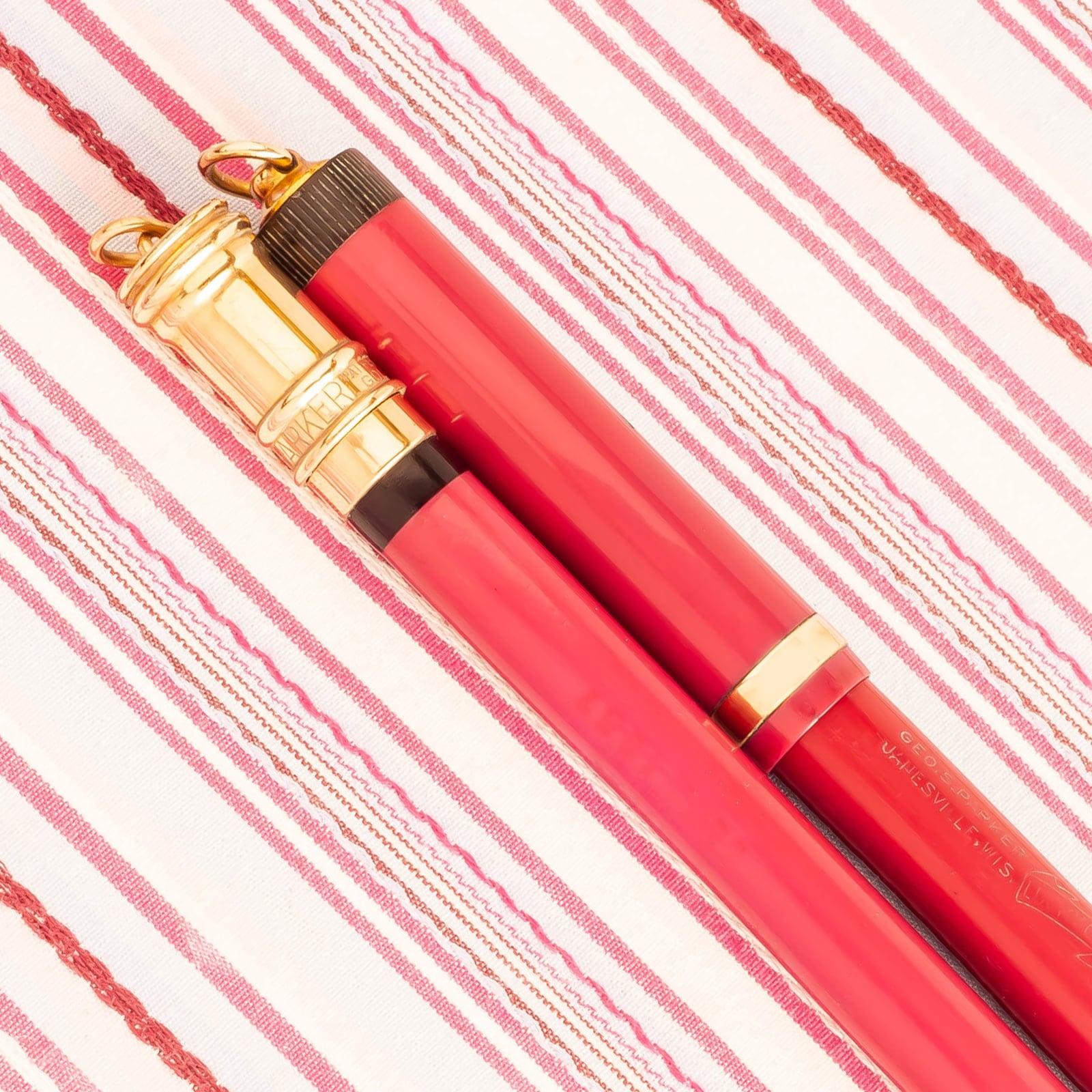 Vintage PARKER Duofold Lucky Curve Pastel Magenta Fountain Pen Pencil Set