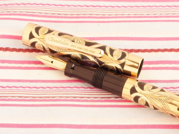 vintage conklin crescent filler gold filled overlay heath filigree floral fountain pen