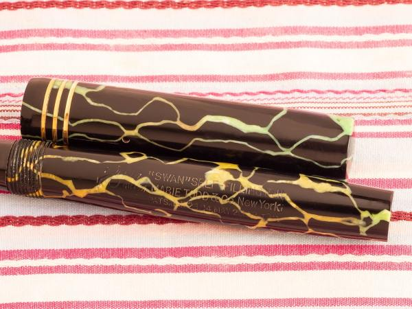 vintage mabie todd swan self-filling black cracked-ice marble deluxe fountain pen