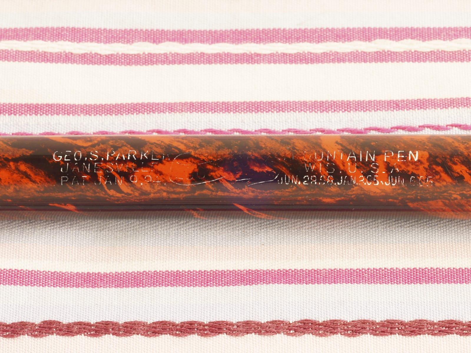 vintage antique parker 1 lucky curve red hard rubber woodgrain eyedropper fountain pen