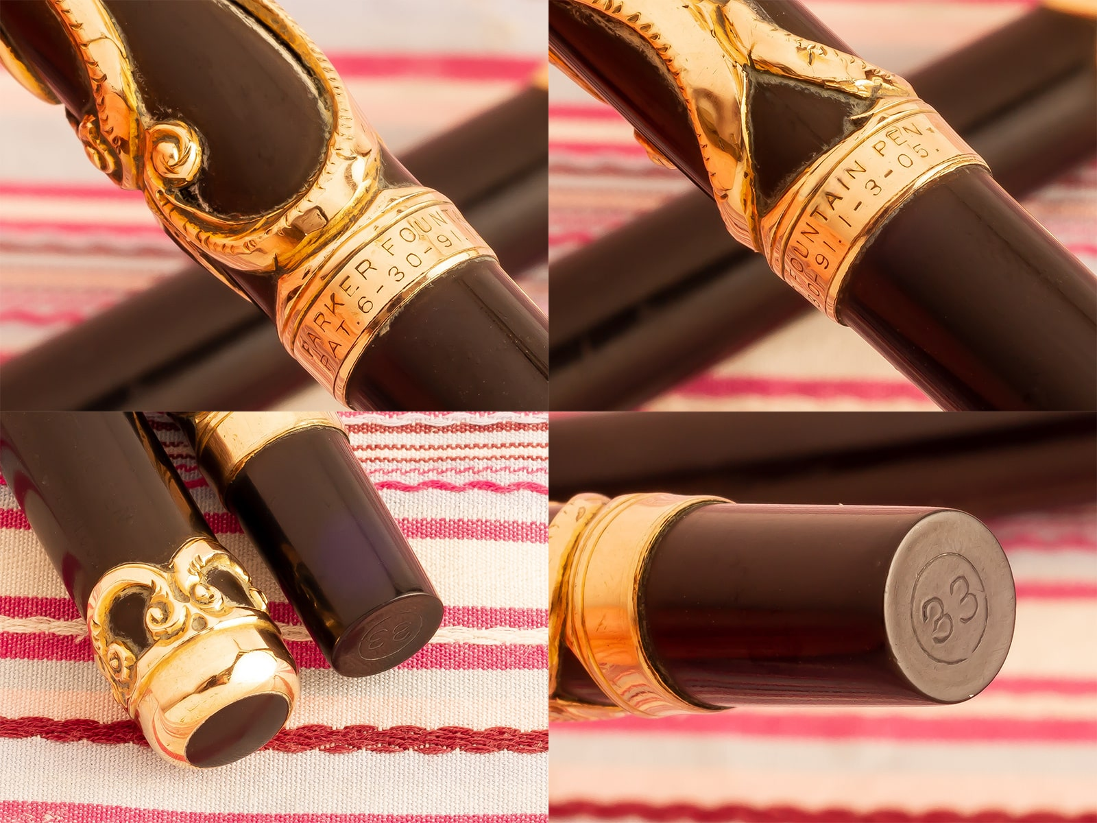 vintage antique parker 33 lucky curve hard rubber gold filled filigree overlay eyedropper fountain pen