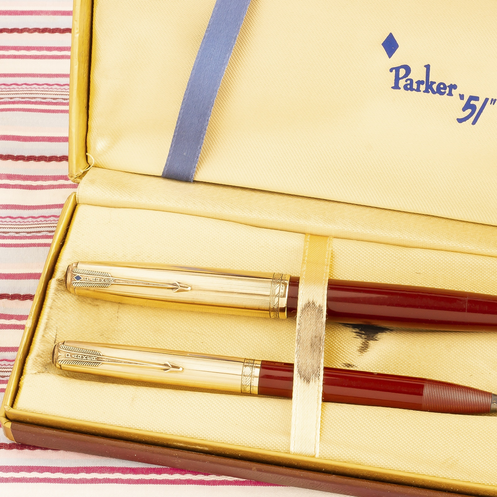 parker 51 deluxe double jewel 16k gold filled cap red maroon fonntain pen pencil box set