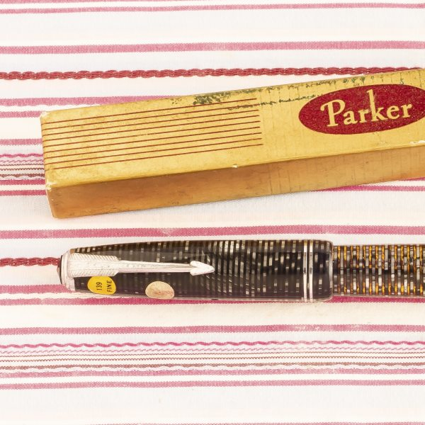 vintage parker vacumatic major silver striped new old stock fountain pen with sticker box pk242