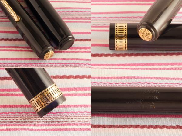vintage waterman ideal patrician senior black emblem art-deco fountain pen