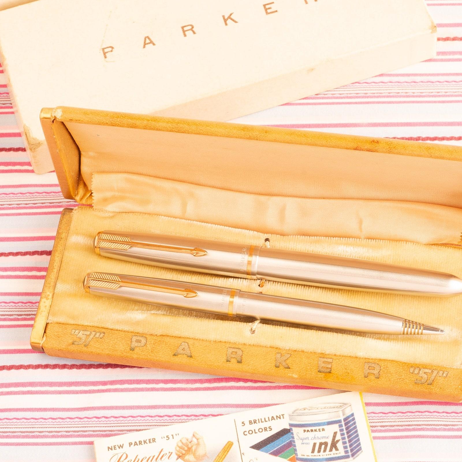 vintage parker 51 flighter lustraloy gold furniture aeometric fountain pen pencil set