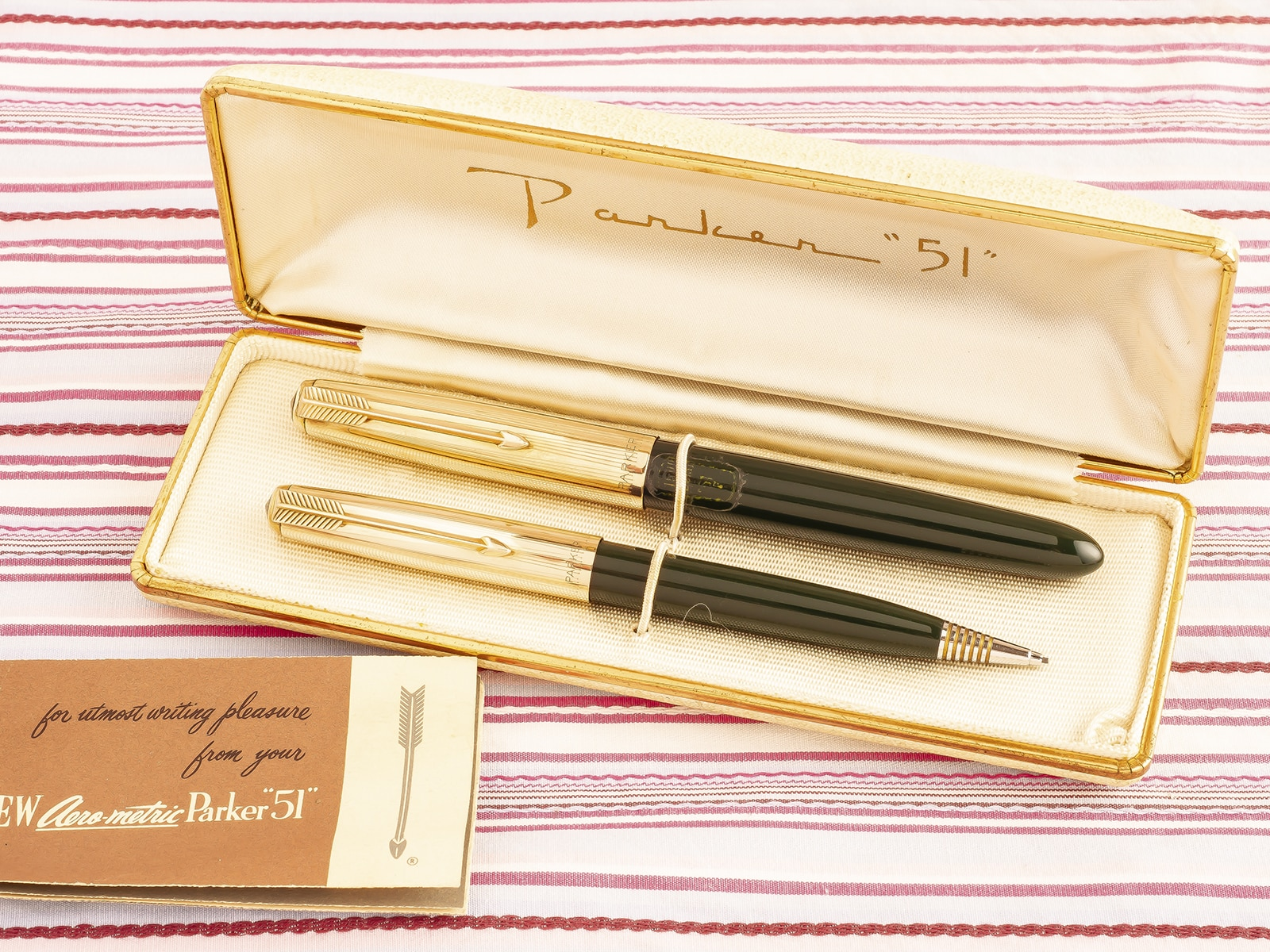 vintage parker 51 gold forest green fountain pen pencil box set new old stock