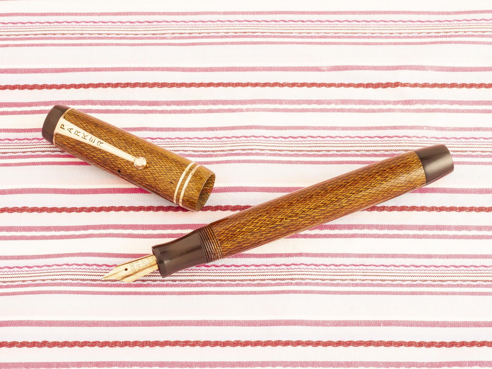 vintage parker duofold golden tiger eye gold herringbone button-filler fountain pen