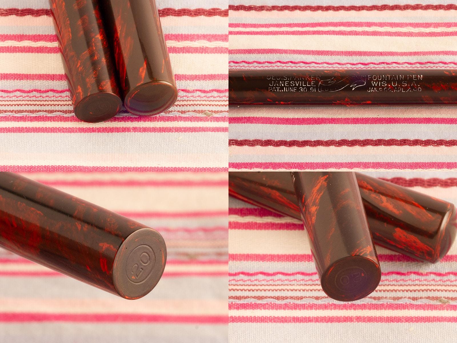 vintage antique parker lucky curve 20 woodgrain red hard rubber eye-dropper fountain pen