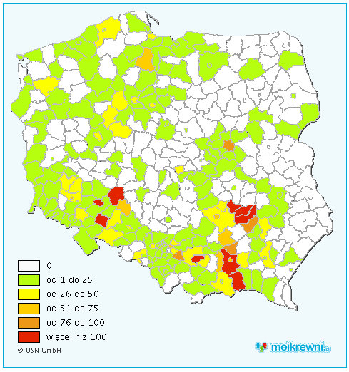 Distribution of the Pater surname in Poland.