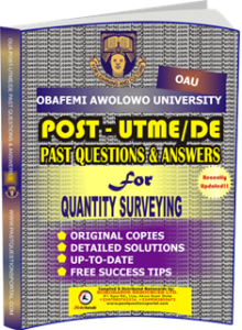 OAU Post UTME Past Questions for QUANTITY SURVEYING