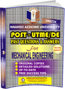 UNIZIK Past UTME Questions for MECHANICAL ENGINEERING