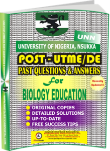 UNN Past UTME Questions for BIOLOGY EDUCATION