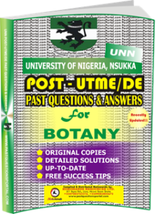 UNN Past UTME Questions for BOTANY