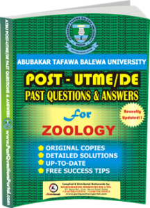 ATBU Post UTME Past Questions for ZOOLOGY