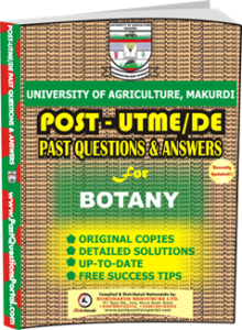 UAM Post UTME Past Question for Botany