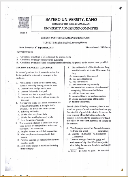 buk post utme past questions and answers