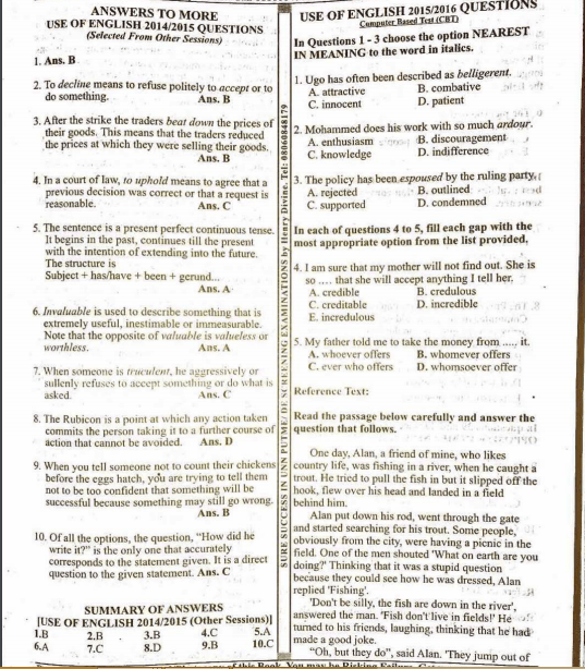 UNN Post UTME Past Questions and Answers