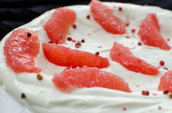 pink pepper grapefruit pavlova