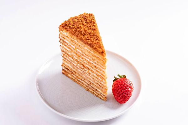 slice of medovik - russian honey cake