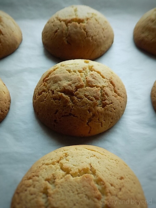 Cakey Cookies on a parchment sheet.