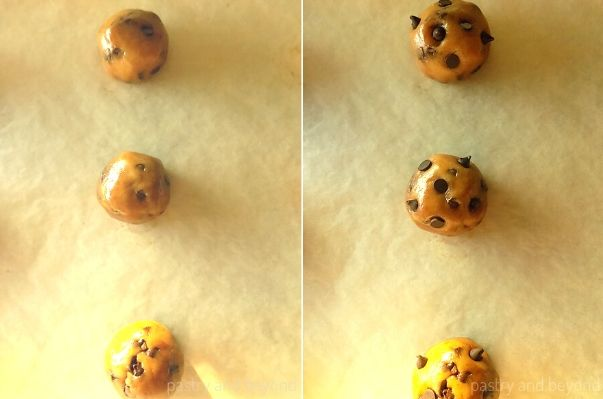 Chocolate Chip Cookie Dough Balls on a parchment paper with extra chocolate chips.