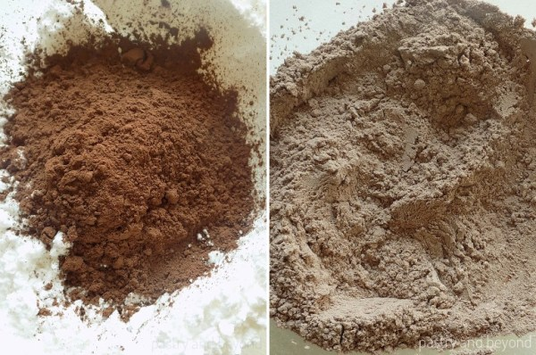 Steps of Making Flourless Hazelnut Cocoa Cookies: Combining cocoa powder and powdered sugar.