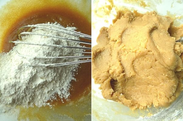 Adding the flour to the egg-sugar mixture. Cookie dough after mixed.