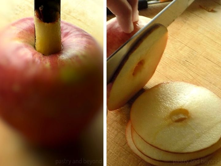 Coring the apple with an apple corer and thinly slicing the apple as circles to show how to make dried apples