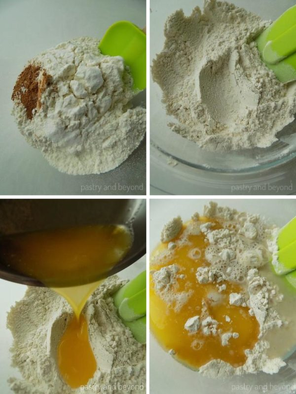 Steps of Making Cinnamon Sugar Crackers: Mixing flour, salt, sugar and ciinamon. Adding melted butter and mixing until totally combined with a spatula.