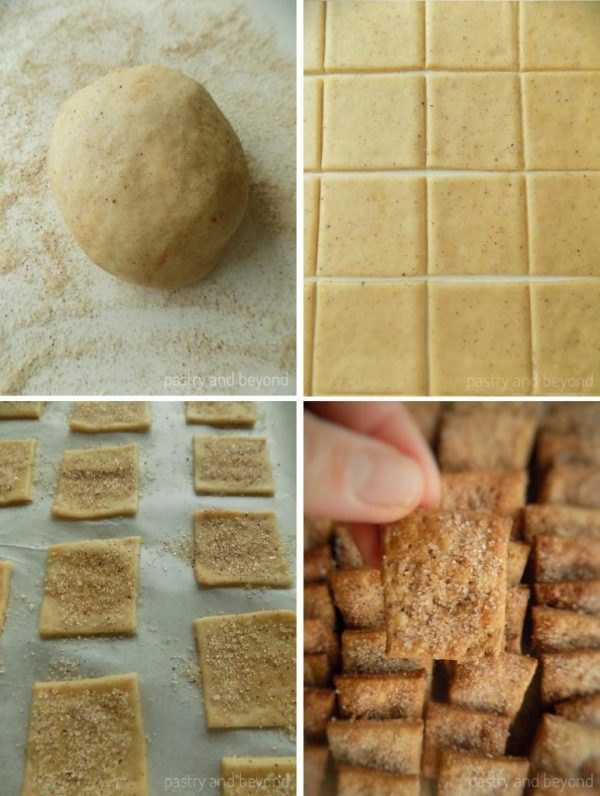 Steps of Making Cinnamon Sugar Crackers: Rolling out the dough on a cinnamon-sugar covered surface, cutting out the dough into squares and baking.