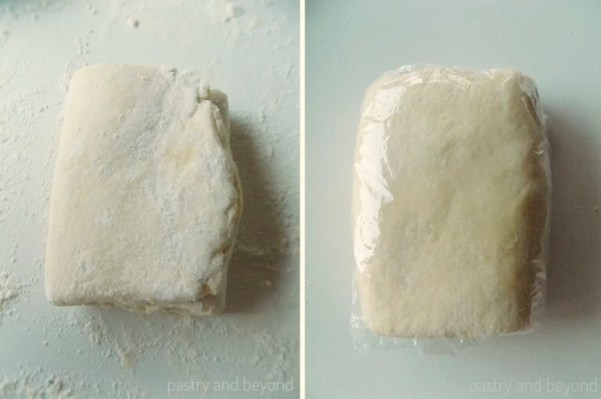 Steps of Making quick puff pastry: Giving a quarter turn to the dough in the first picture. Dough wrapped in plastic film in the second picture.