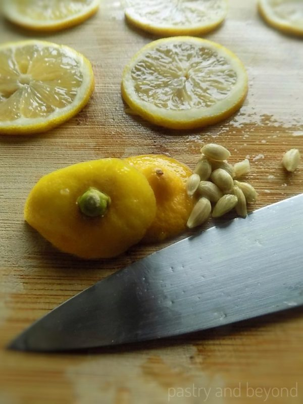 Steps of Making Candied Lemons: Thinly Sliced Apples