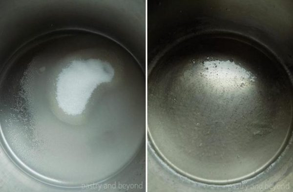 Steps of Making Caramel Sauce Using Wet Method: Placing sugar and water in a pan on the left photo. Sugar is dissolved on the right photo.