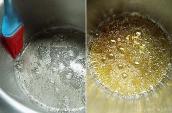 Steps of Making Caramel Sauce Using Wet Method: Brushing down the crystals that form on the side of the pan on the left photo. Sugar is bubbling on the right photo.
