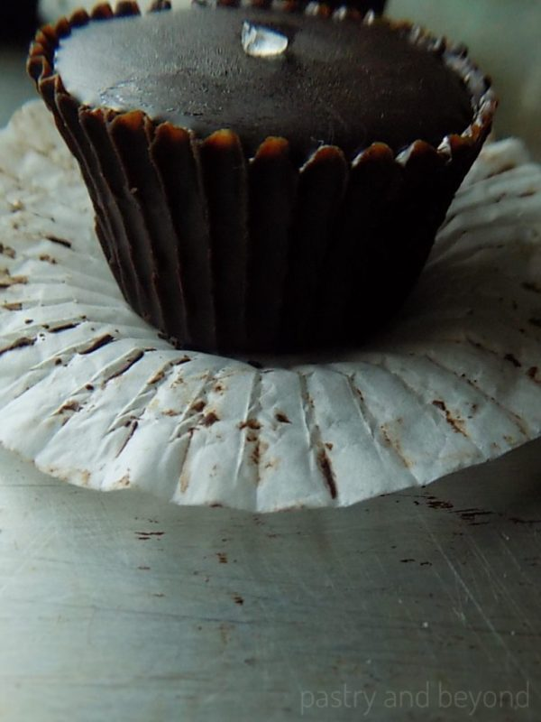 Chocolate Caramel Cup removed from the cupcake paper.