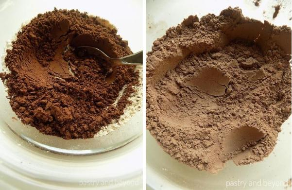 Steps of Making Moist Chocolate Cookies: Mixing cocoa, baking soda and flour.