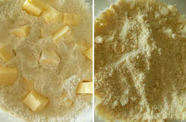 Steps of Making Lemon and White Chocolate Cookie Cake: Adding the cube butter and rubbing with fingertips until the mixture looks like breadcrumbs.