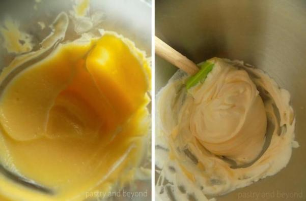 Folding the lemon curd into heavy cream.
